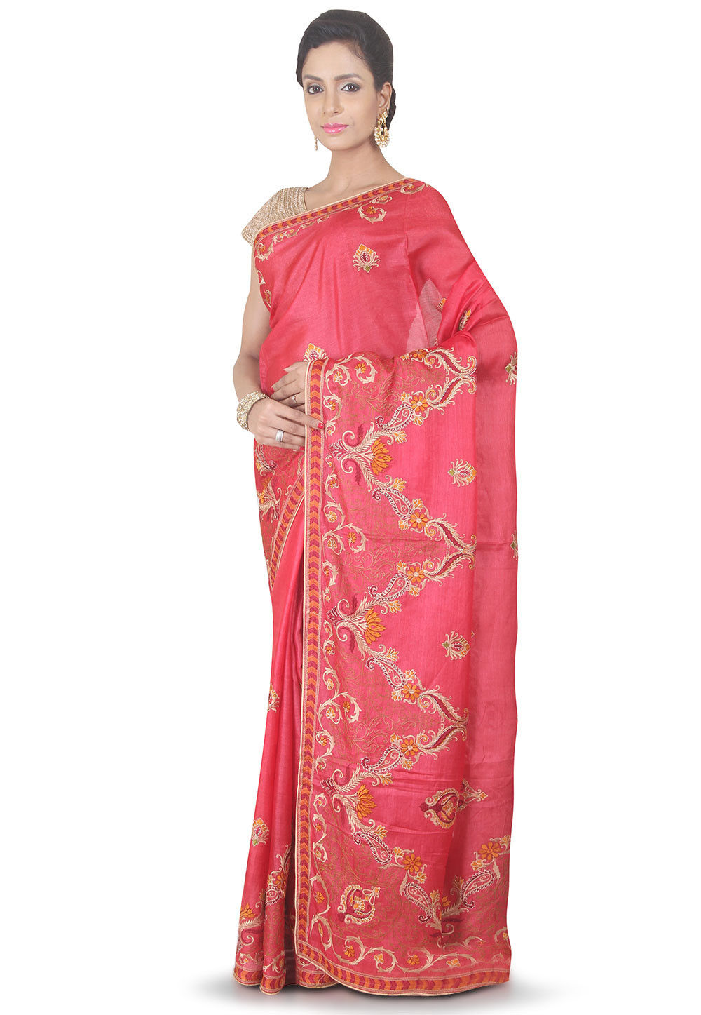 Embroidered Pure Silk Saree in Coral