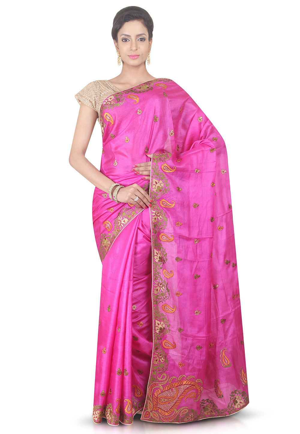 Embroidered Pure Silk Saree in Pink