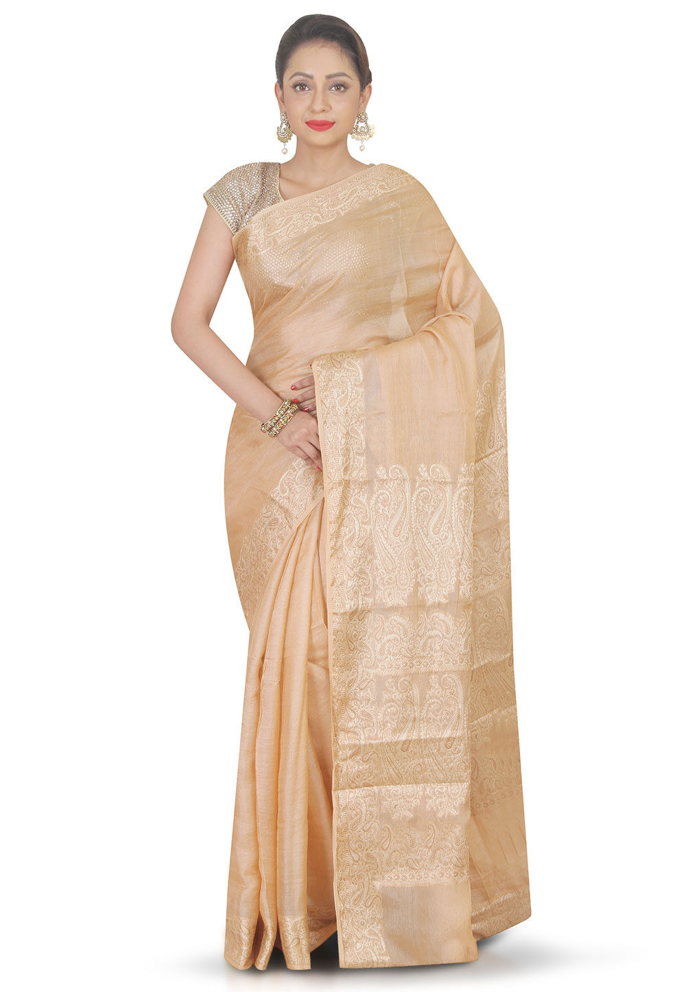 Plain Woven Pure Silk Saree in Beige