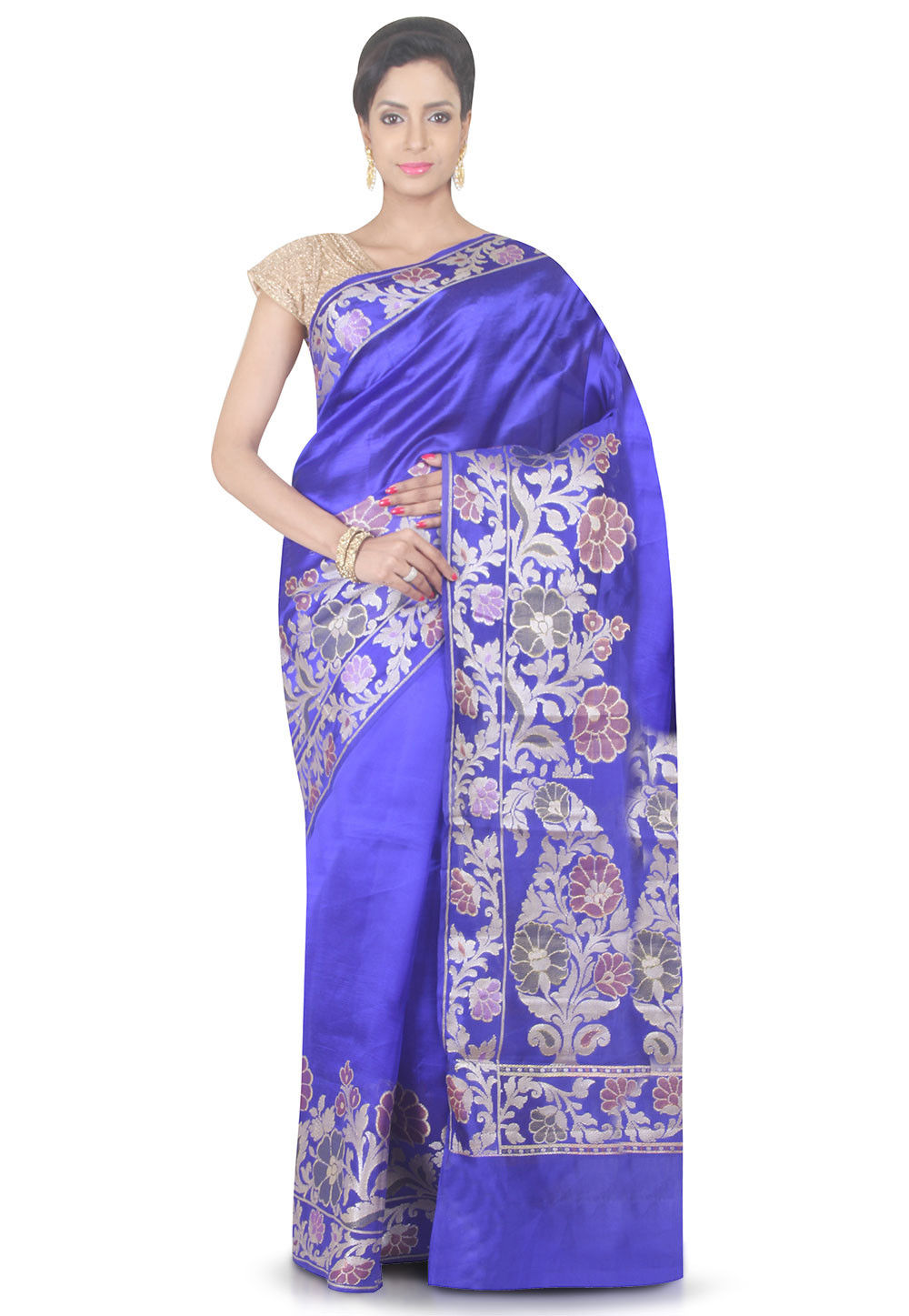 Woven Pure Silk Saree in Indigo