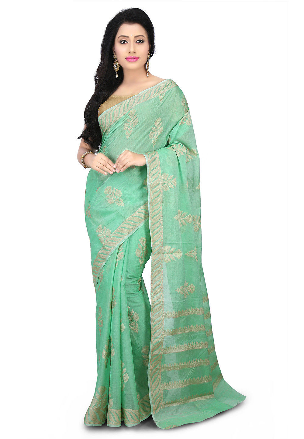 Pure Tussar Silk Saree in Sea Green