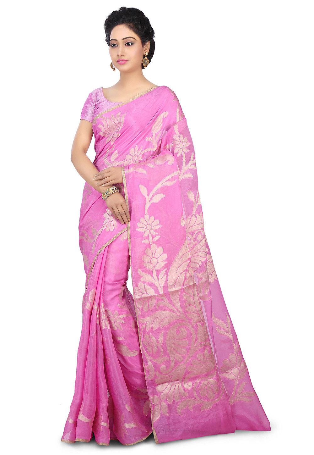 Pure Chiffon Saree in Pink