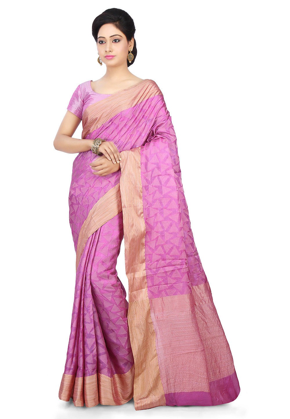 Pure Tussar Silk Saree in Pink