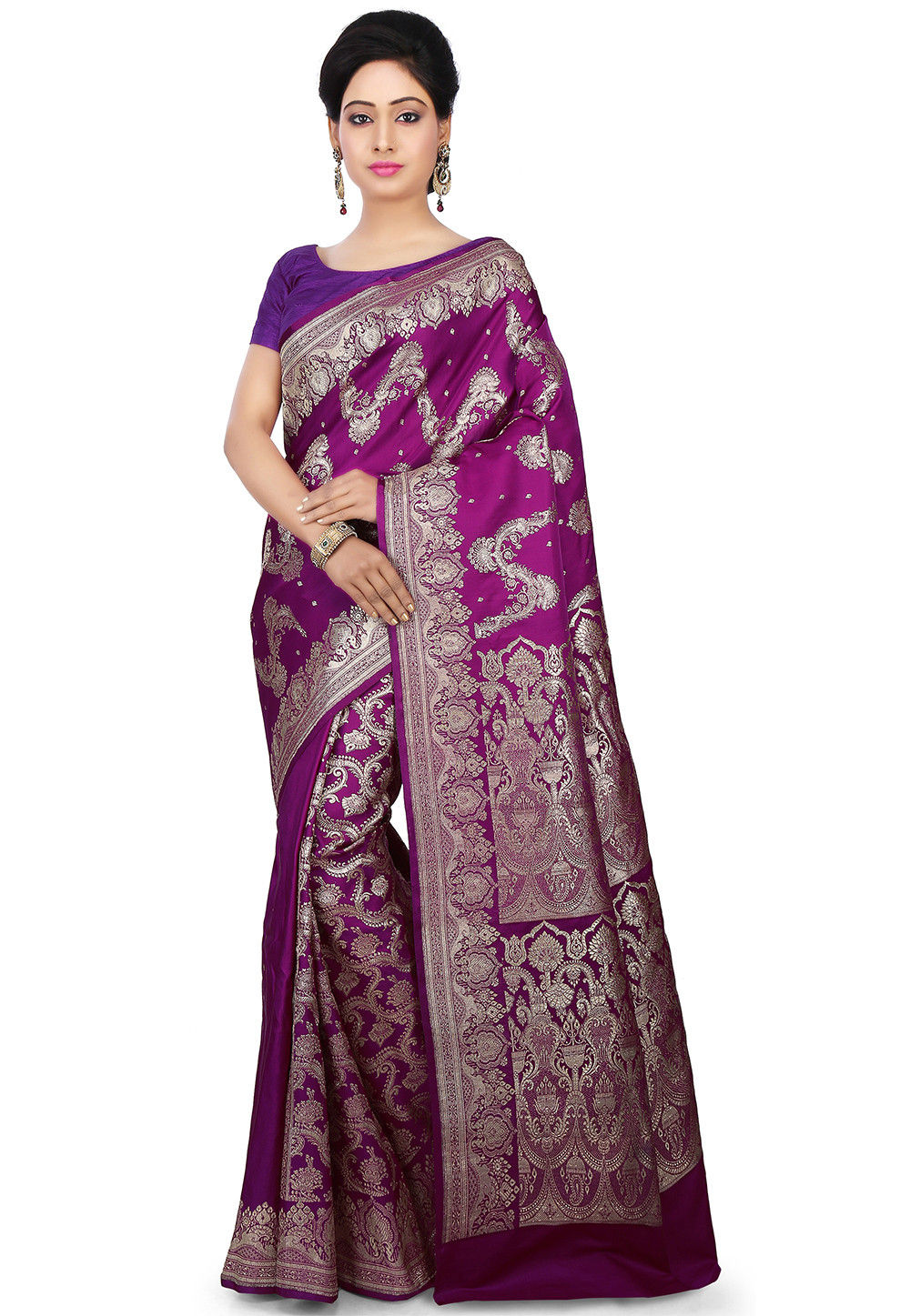 Pure Satin Silk Saree in Violet