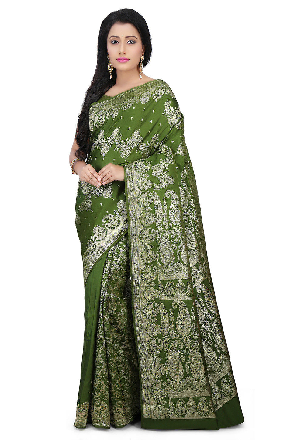 Pure Satin Silk Saree in Olive Green