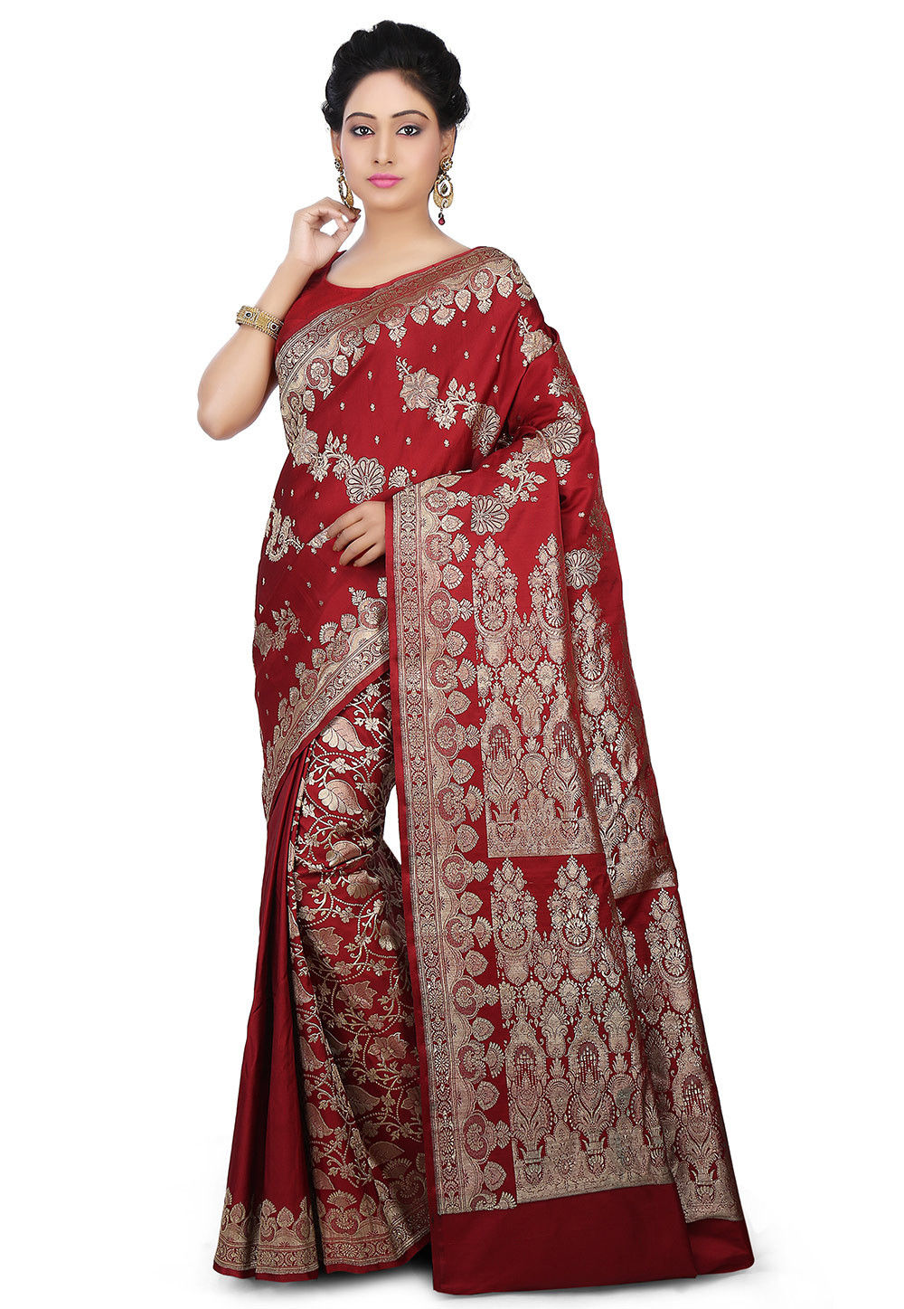 Pure Satin Silk Saree in Maroon