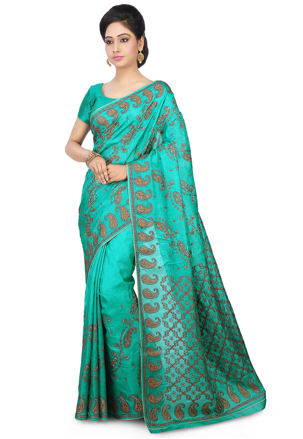 Pure Tussar Silk Saree in Teal Green