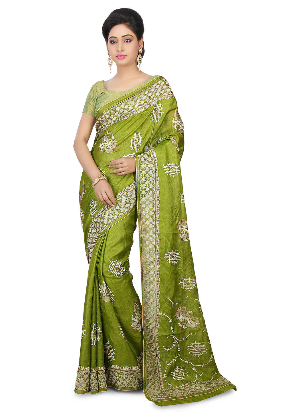 Pure Tussar Silk Saree in Olive Green