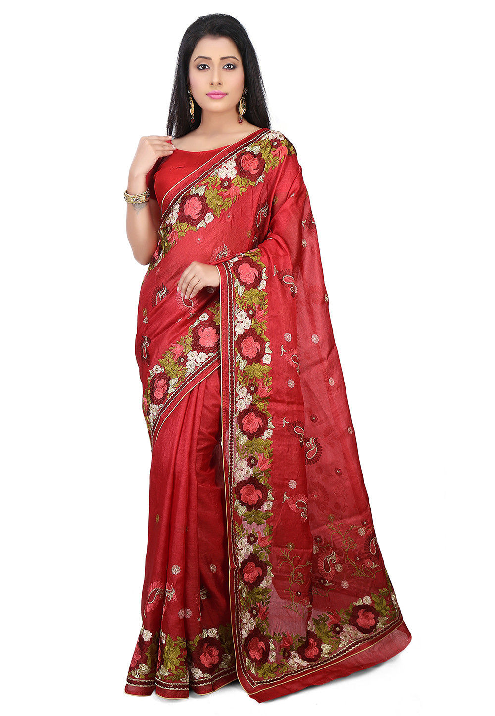 Pure Tussar Silk Saree in Maroon