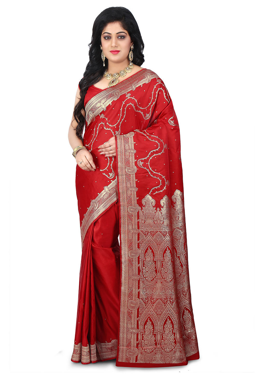 Woven Pure Satin Silk Banarasi Saree in Red