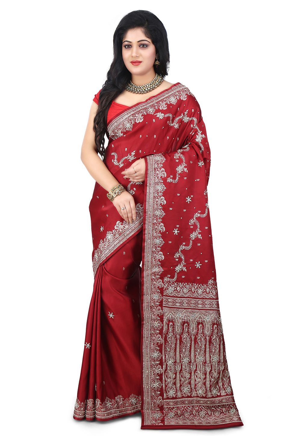 Woven Pure Satin Silk Banarasi Saree in Maroon