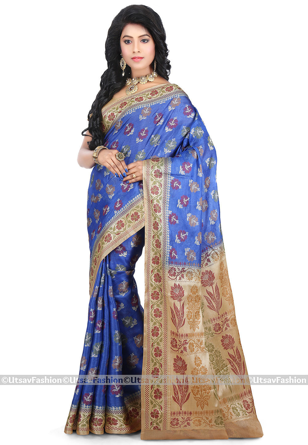 Pure Tussar Silk Saree in Blue