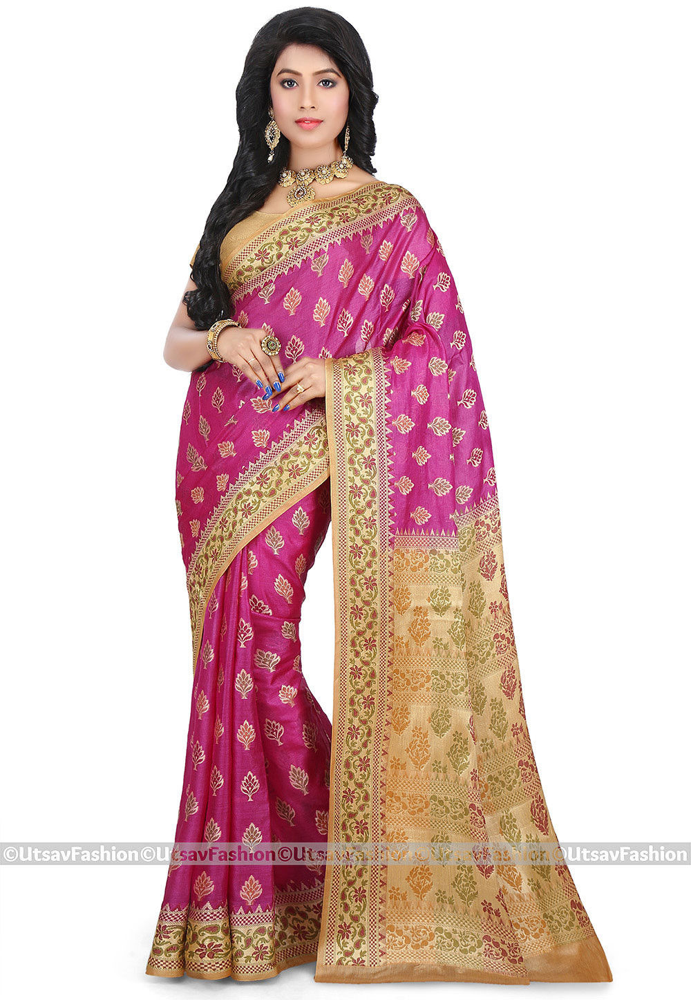 Pure Tussar Silk Saree in Fuchsia