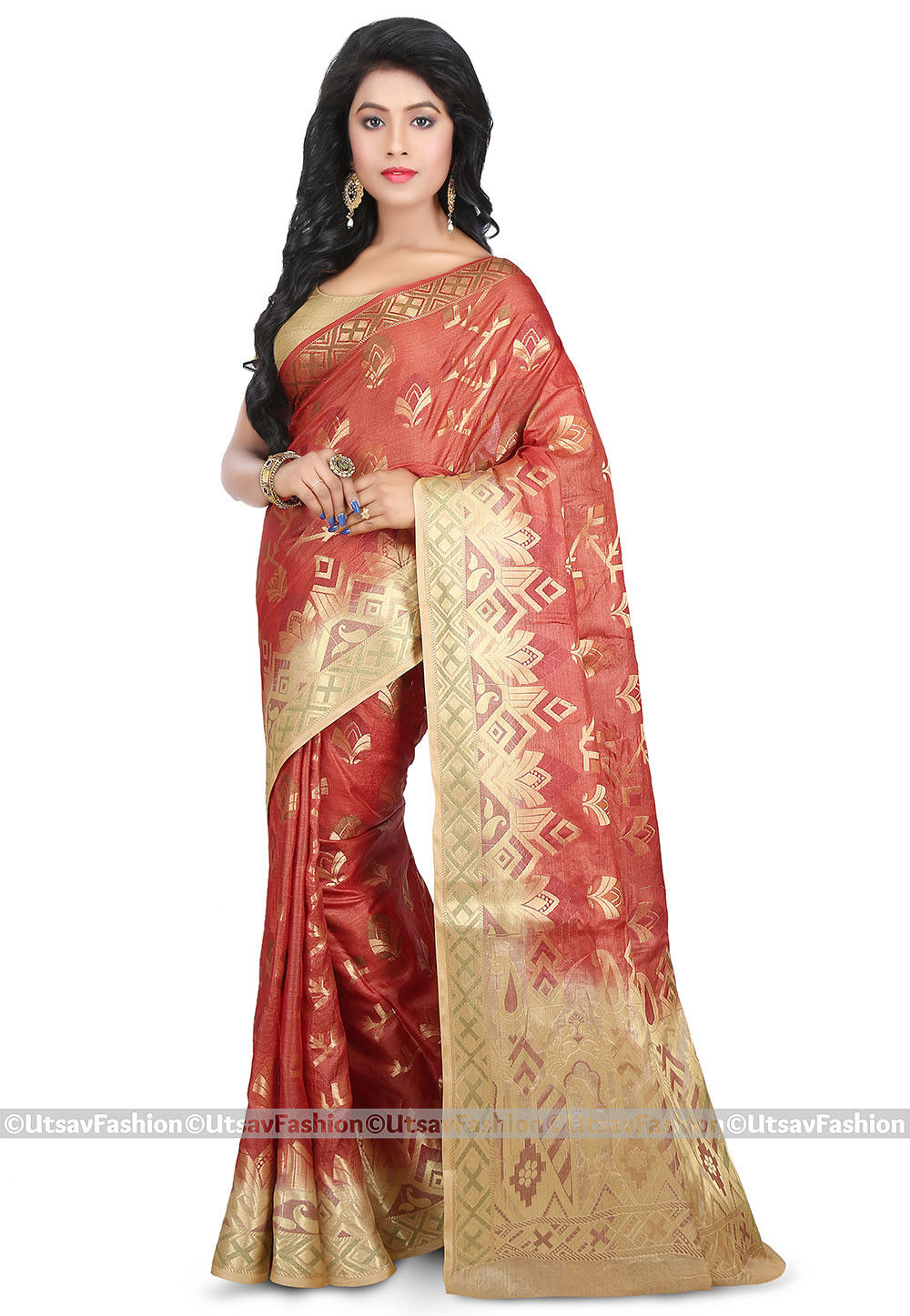Pure Tussar Silk Saree in Rust