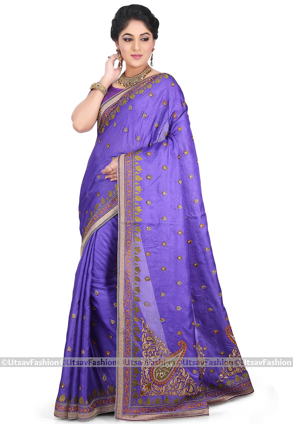 Embroidered Pure Tussar Silk Saree in Purple