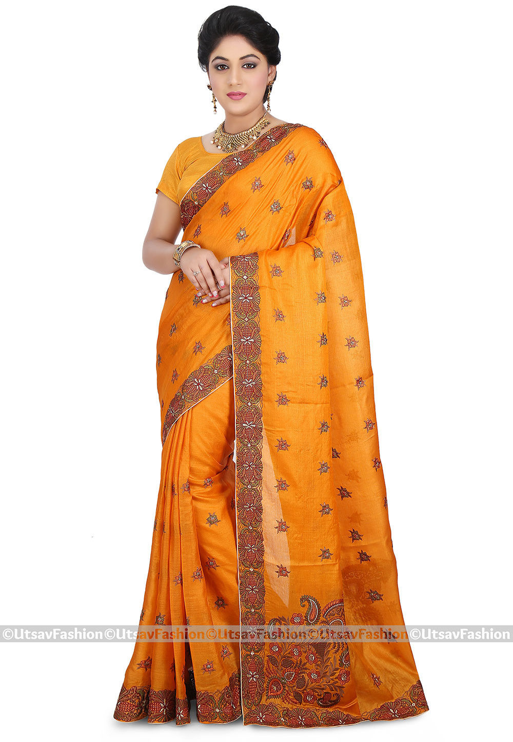 Embroidered Pure Tussar Silk Saree in Mustard
