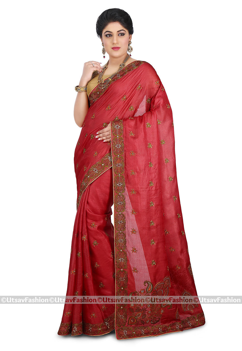 Embroidered Pure Tussar Silk Saree in Coral Red