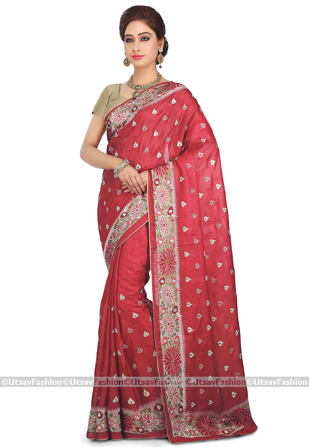 Embroidered Pure Tussar Silk Saree in Red