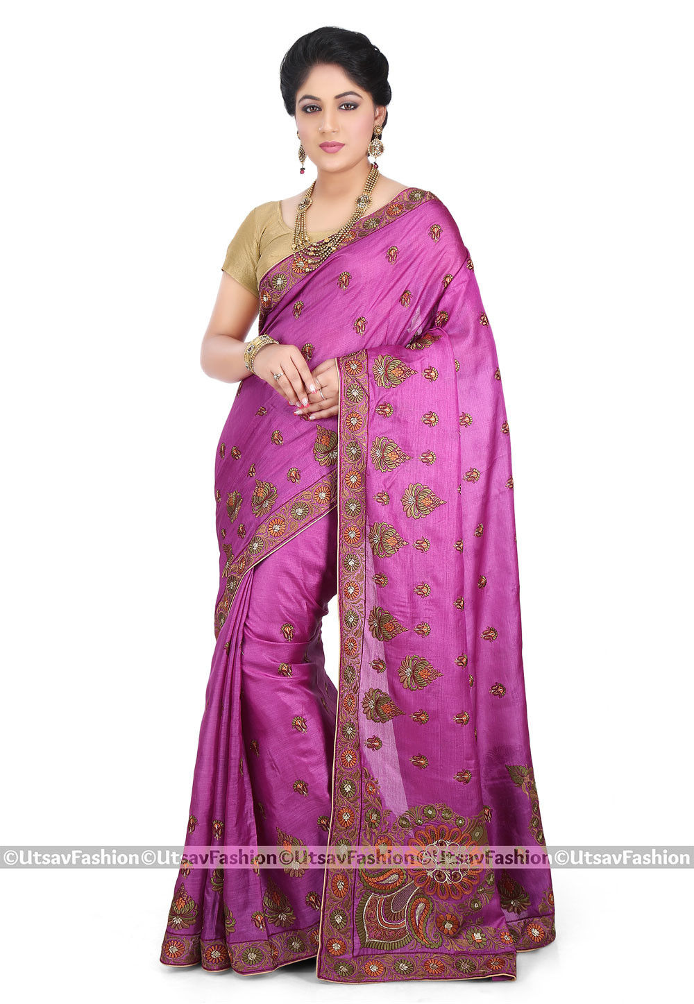 Embroidered Pure Tussar Silk Saree in Magenta