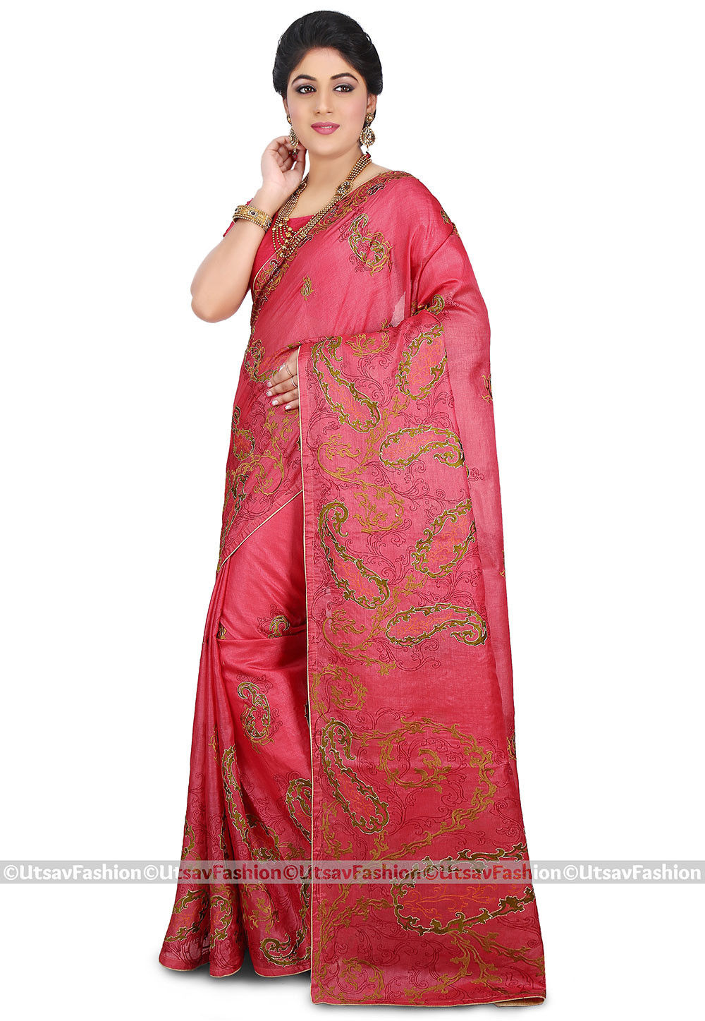 Embroidered Pure Tussar Silk Saree in Coral Pink