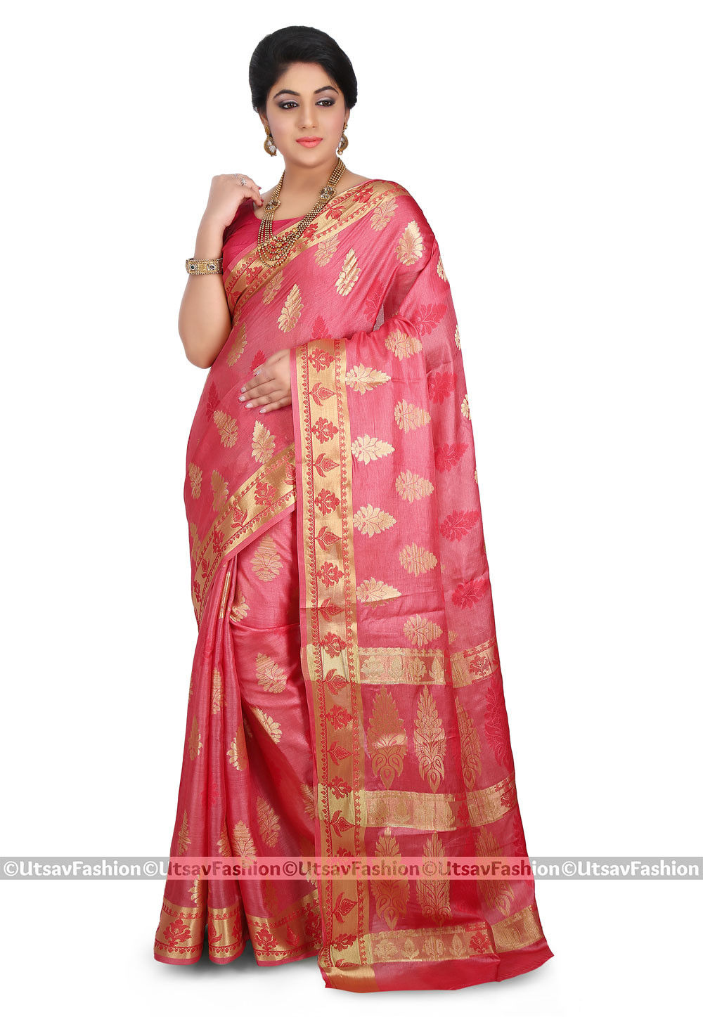 Woven Pure Tussar Silk Saree in Coral Pink
