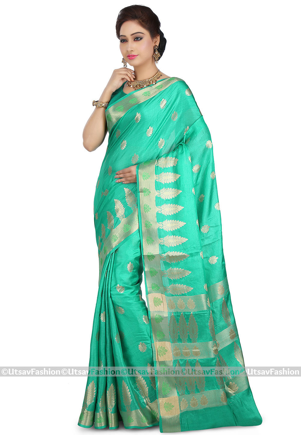 Woven Pure Tussar Silk Saree in Teal Green