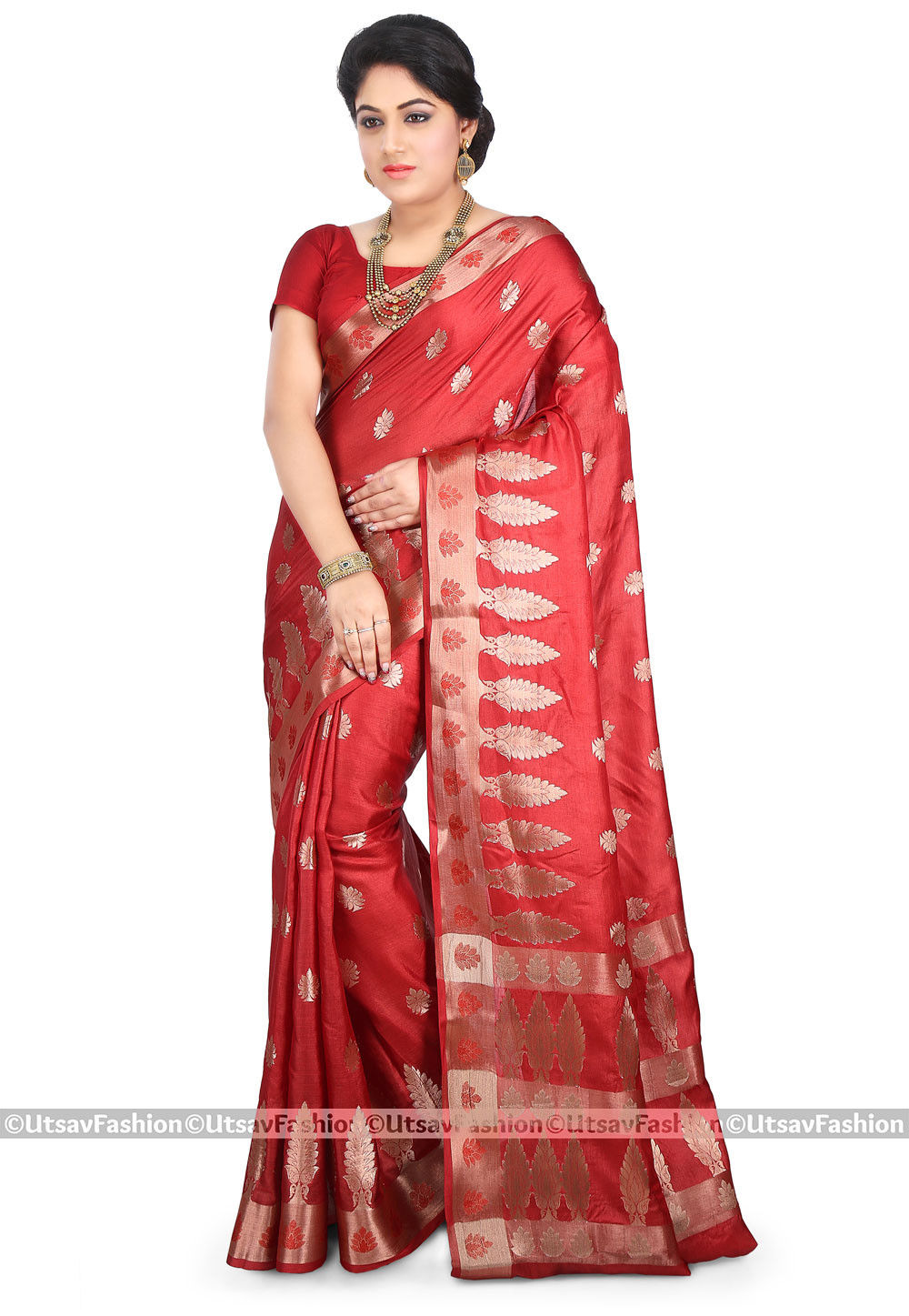 Pure Tussar Silk Saree in Red
