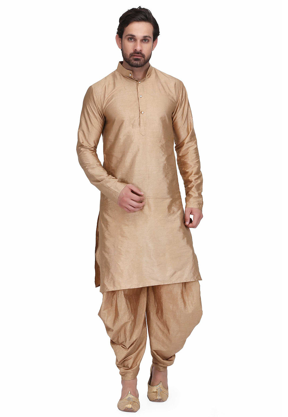 Solid Color Art Silk Kurta Set in Beige