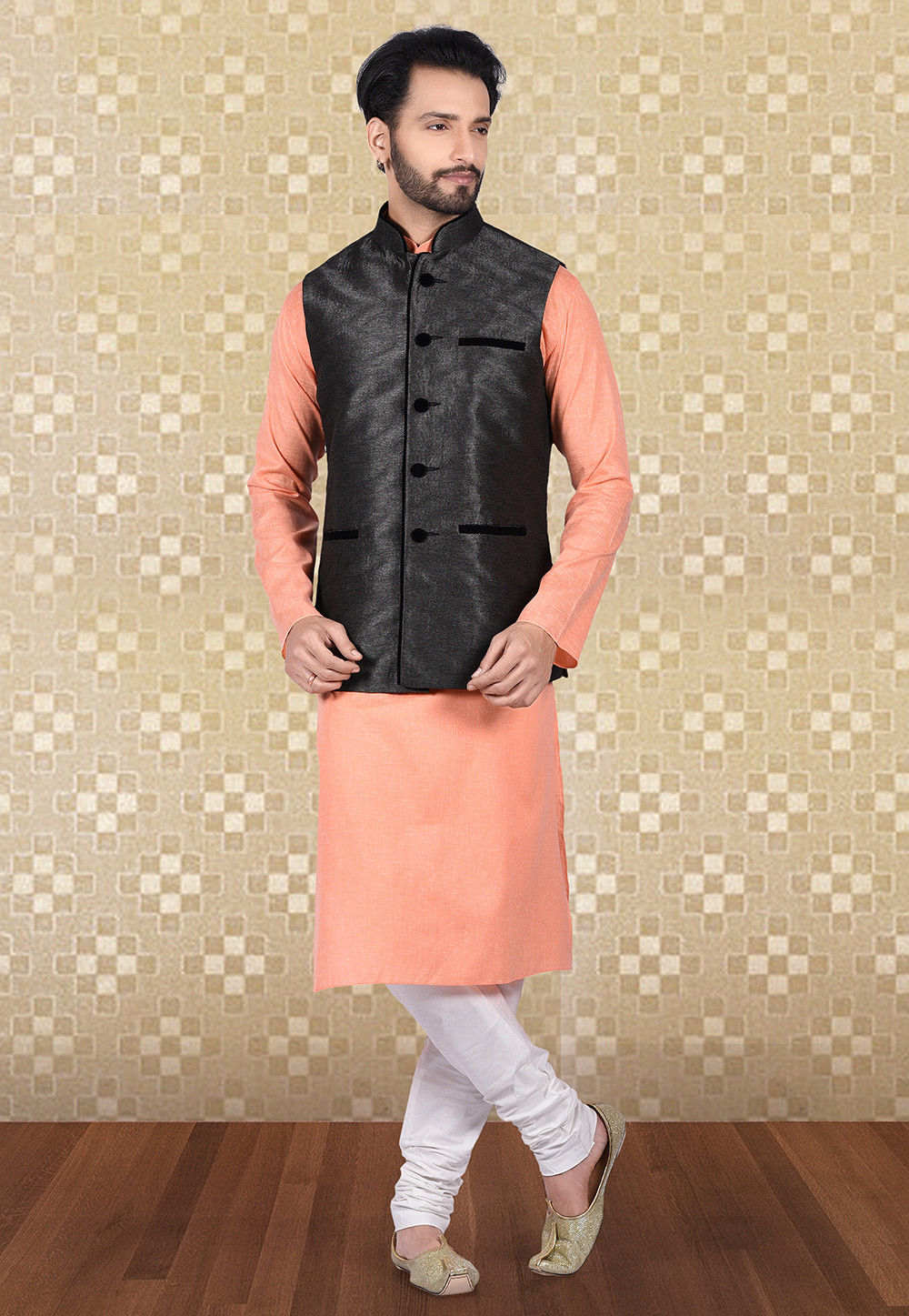 Solid Color Art Silk Nehru Jacket in Charcoal