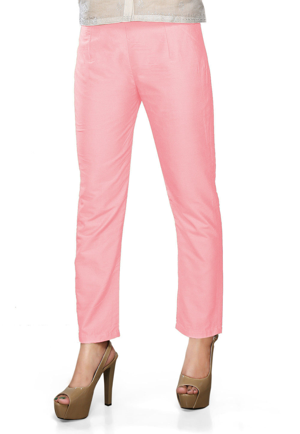 Solid Color Art Silk Pant in Baby Pink