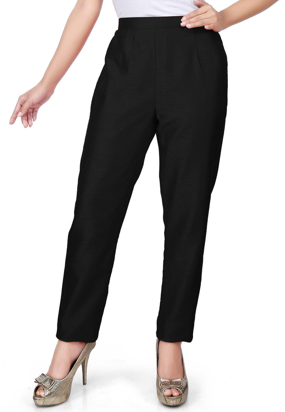 Solid Color Art Silk Pant in Black