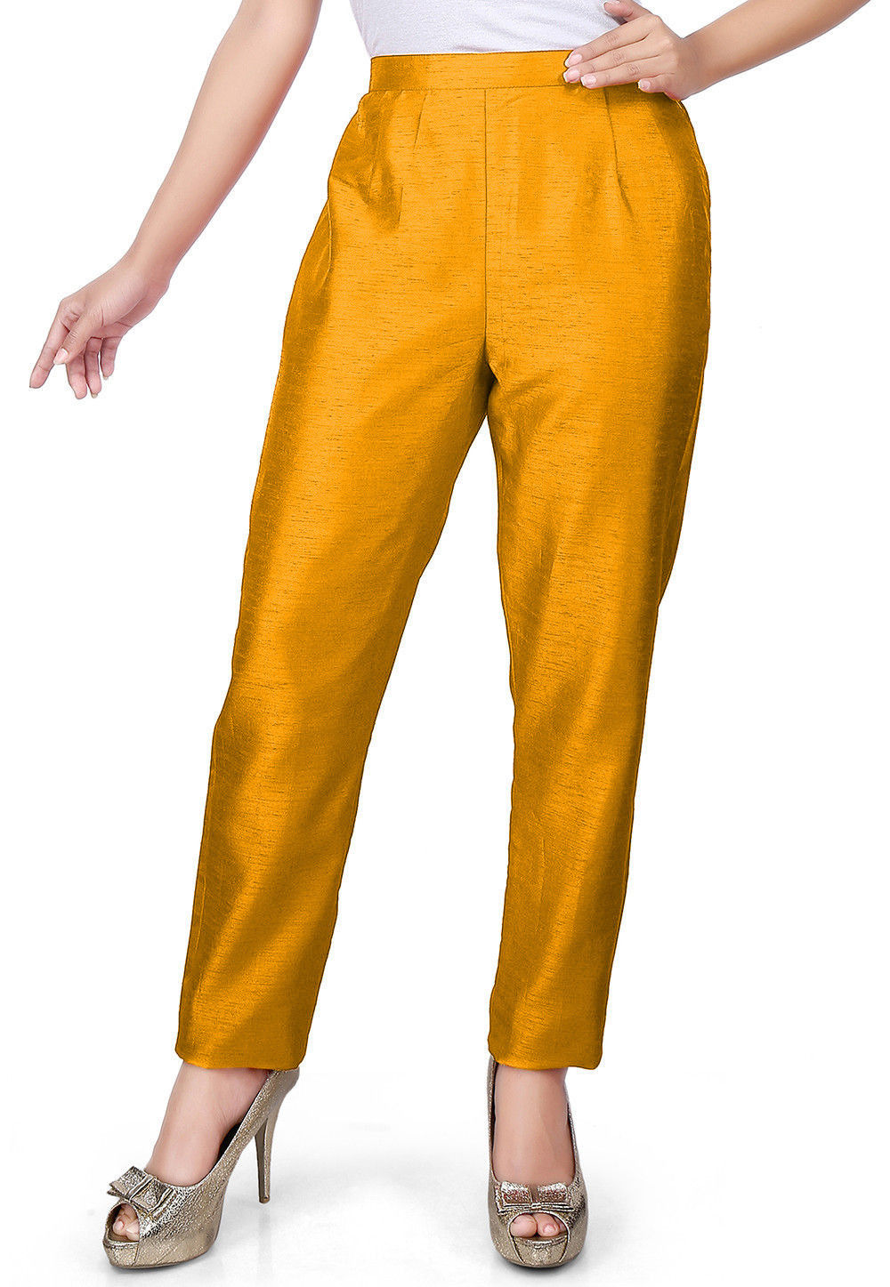Solid Color Art Silk Pant in Yellow