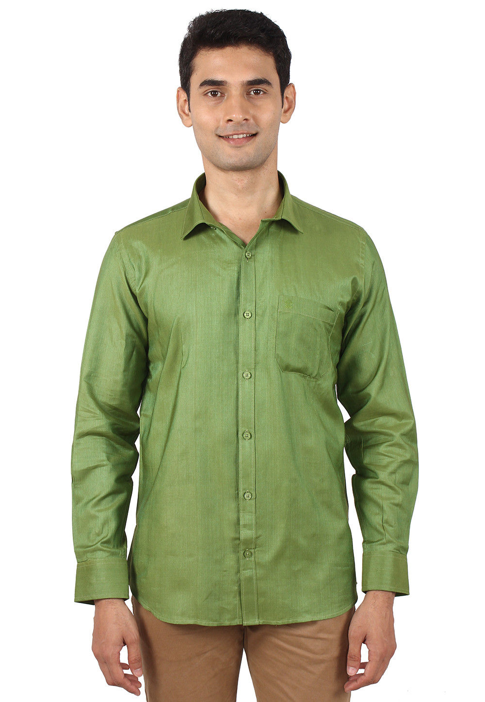 Solid Color Art Silk Shirt In Olive Green Mxt136