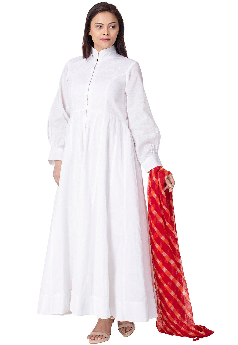 Solid Color Cotton Abaya Style Suit In White : KJN3272