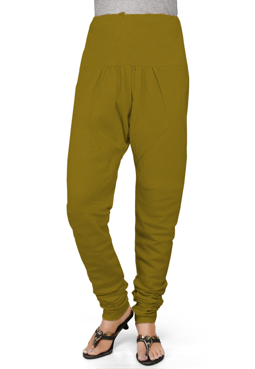 Solid Color Cotton Churidar in Olive Green