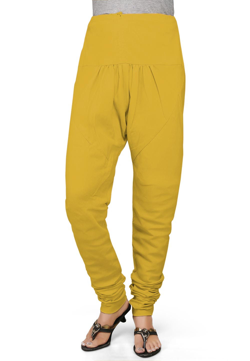 Solid Color Cotton Churidar in Yellow