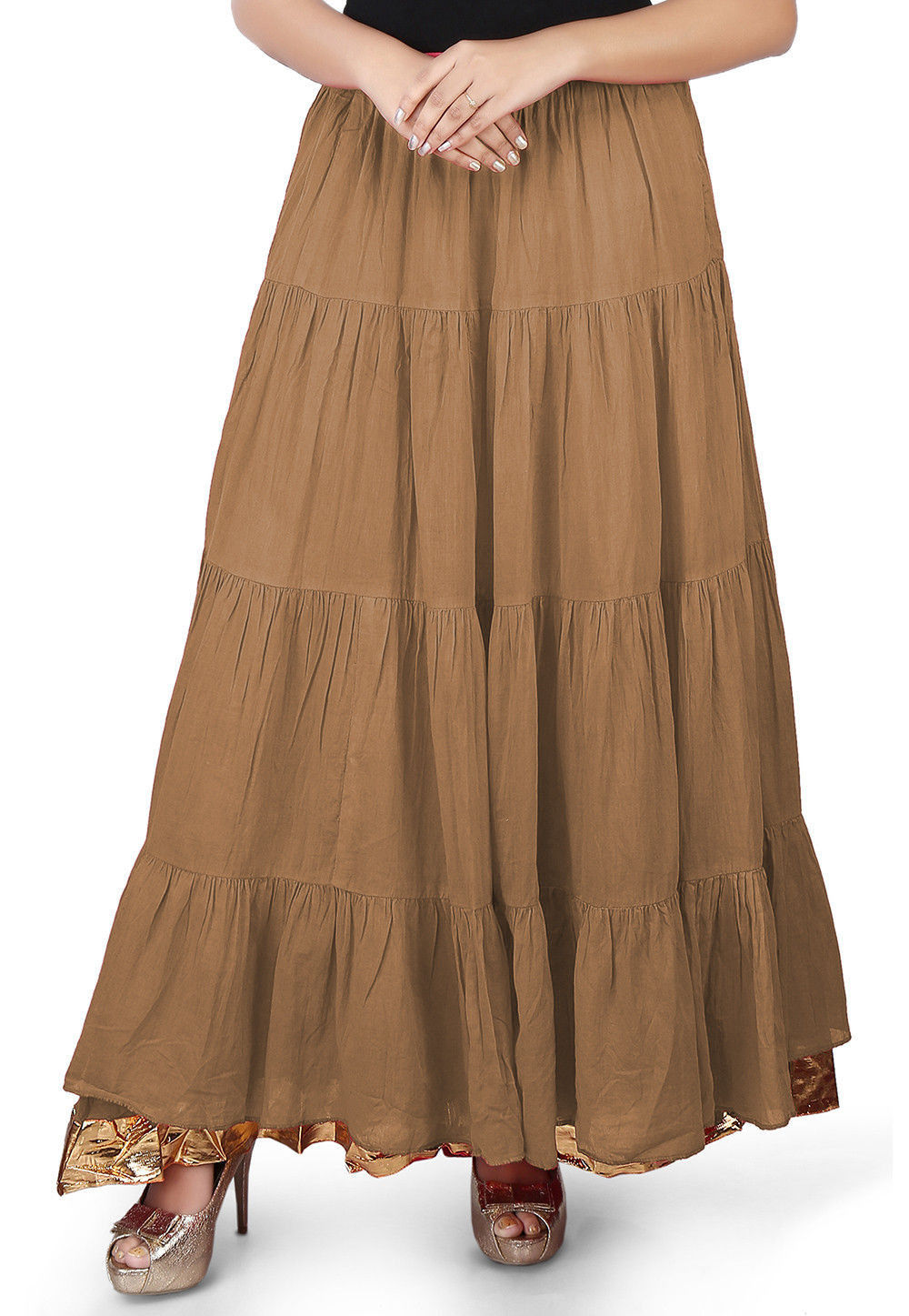 Solid Color Cotton Mulmul Skirts in Dark Beige