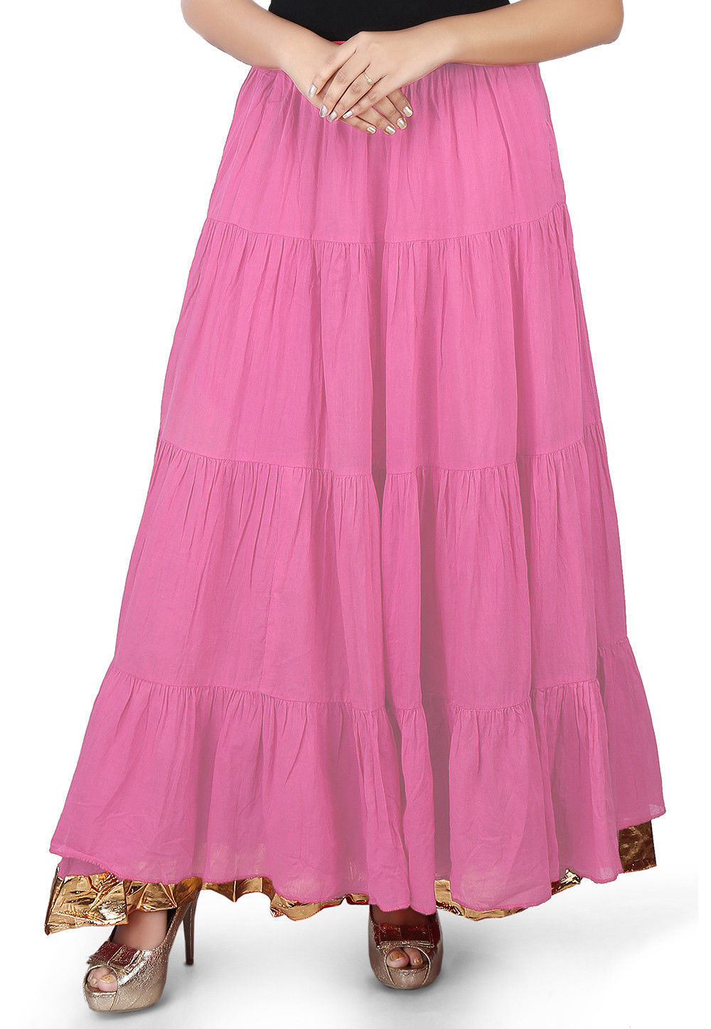 Solid Color Cotton Mulmul Skirts in Pink