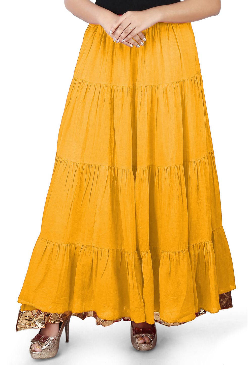 Solid Color Cotton Mulmul Skirts in Yellow