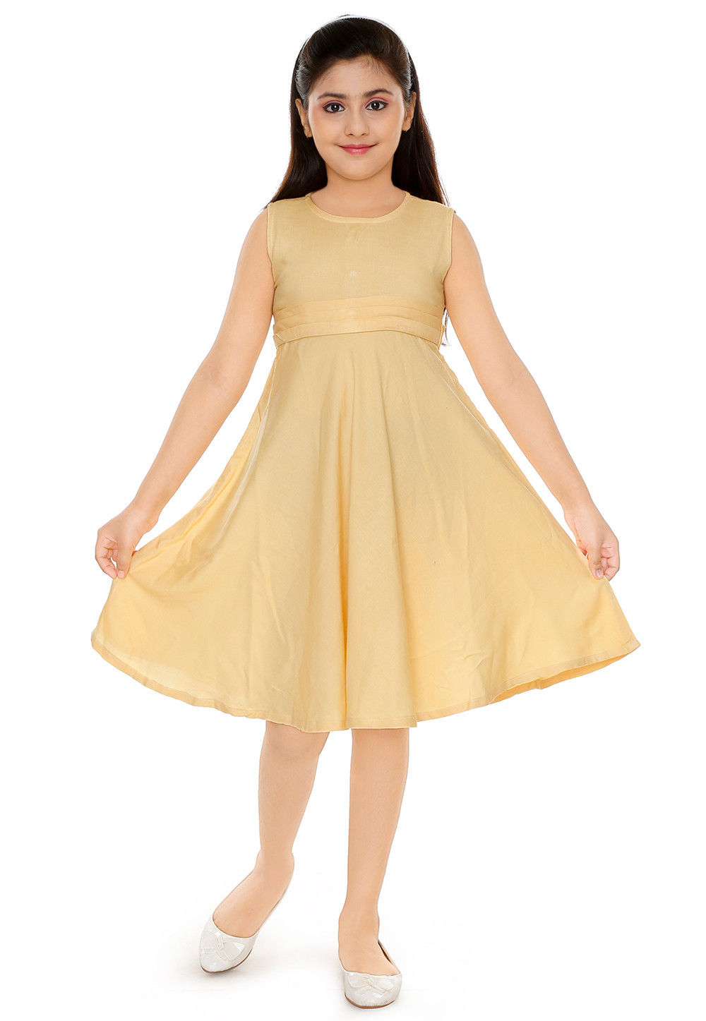 Solid Color Cotton Rayon Dress In Beige Uvt164