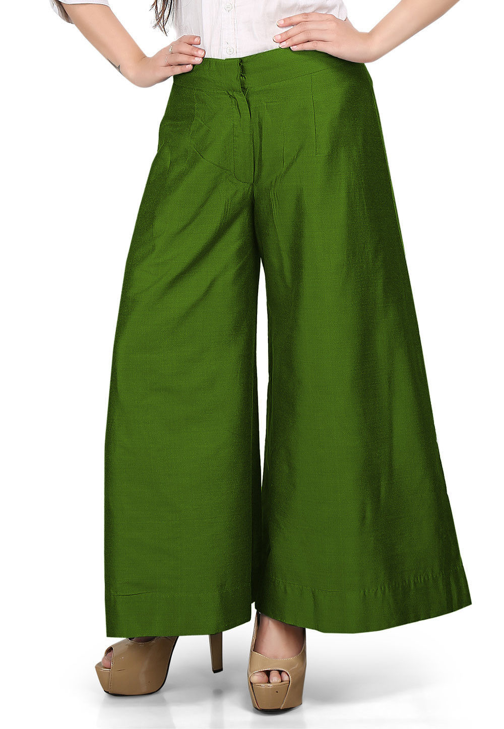Solid Color Cotton Silk Palazzo in Olive Green