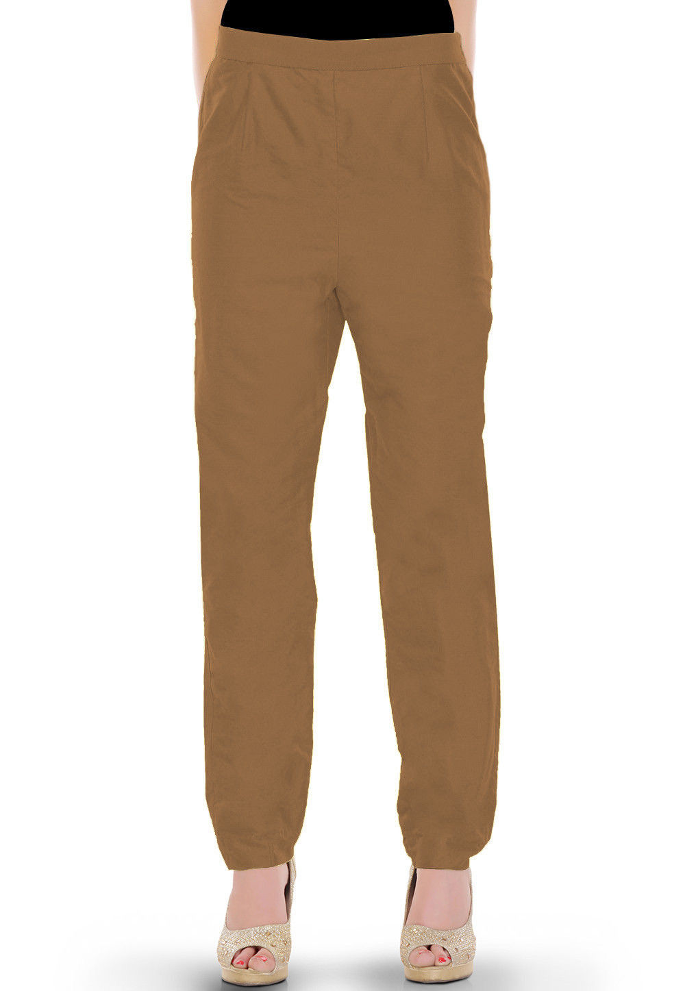 Solid Color Cotton Silk Pant in Beige