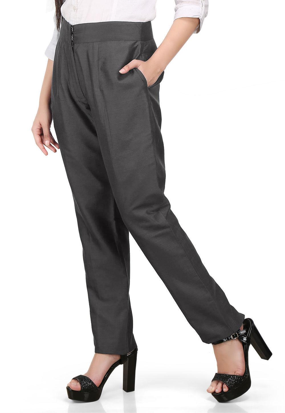 Solid Color Cotton Silk Pant in Dark Grey