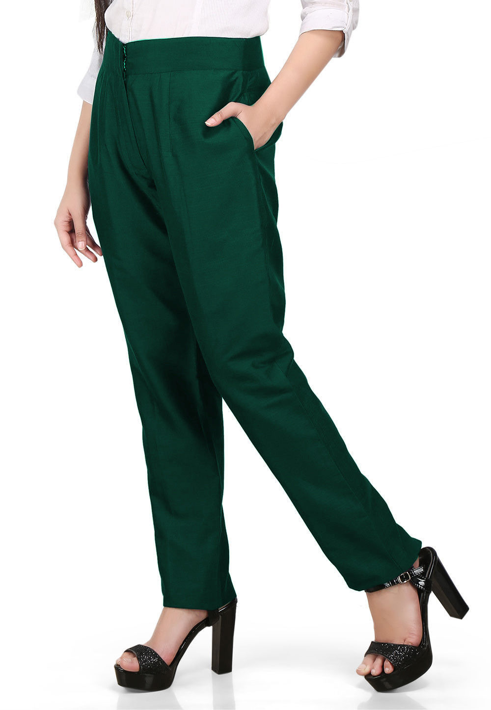Solid Color Cotton Silk Pant in Green