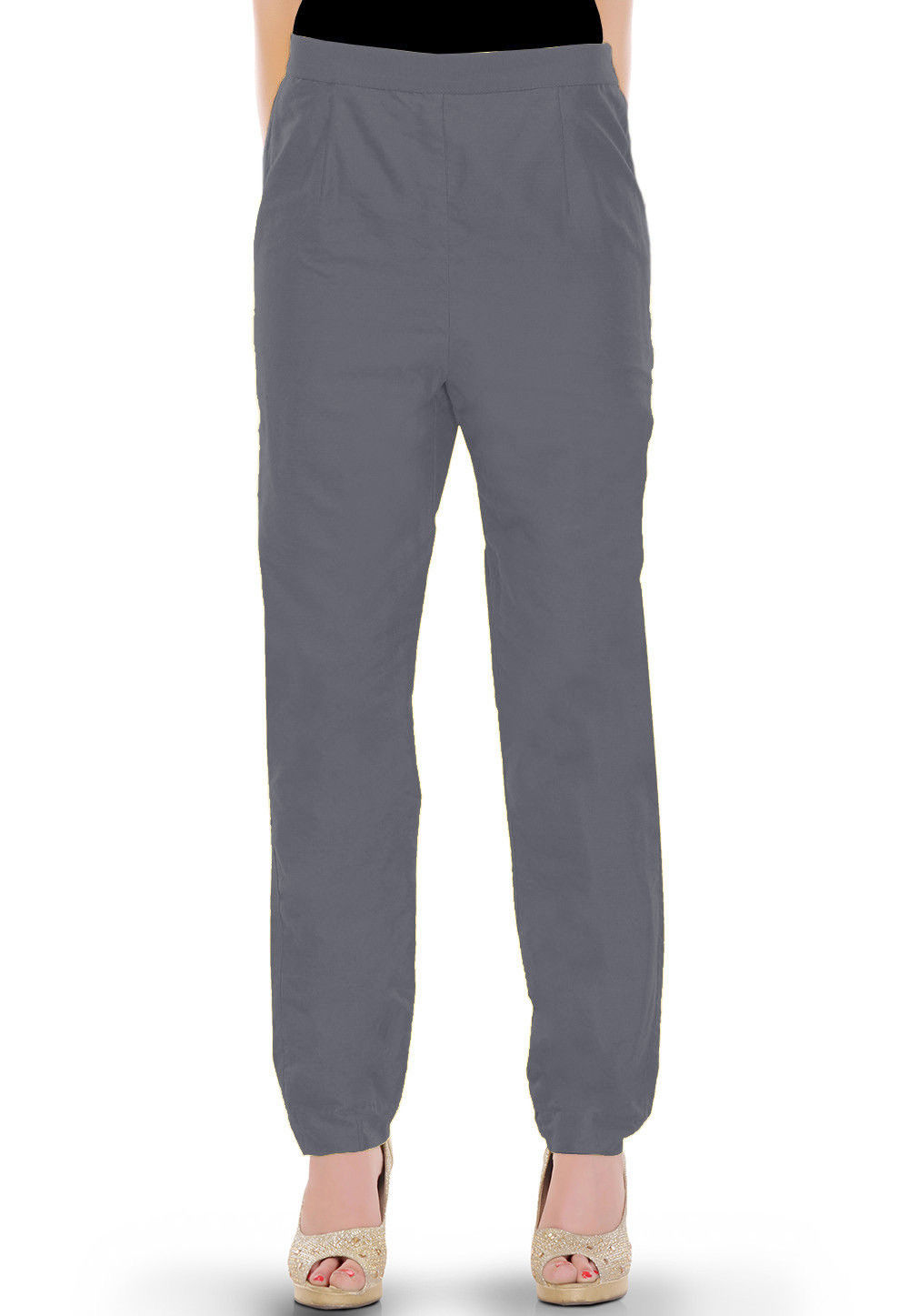 Solid Color Cotton Silk Pant in Grey