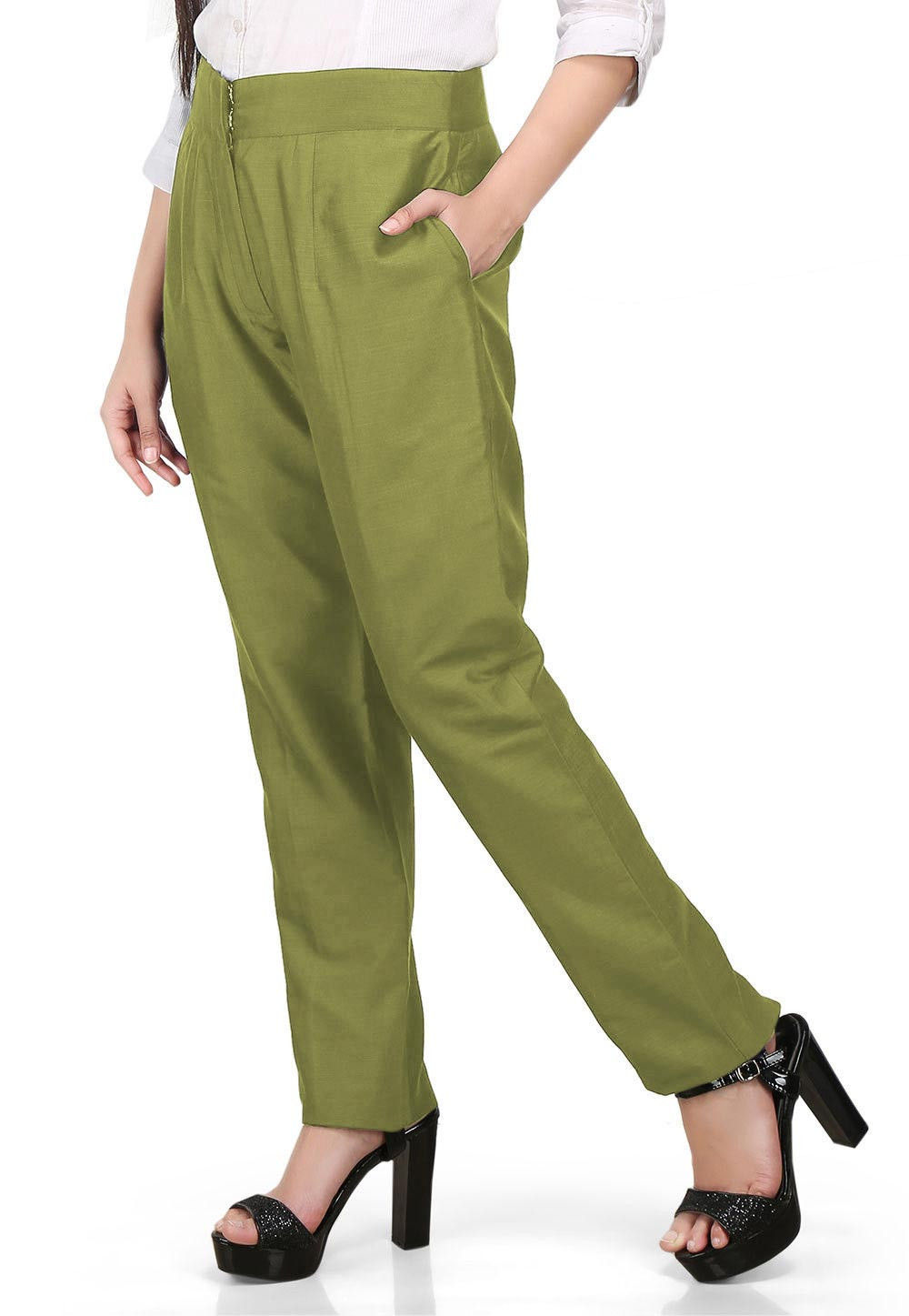 Solid Color Cotton Silk Pant in Olive Green