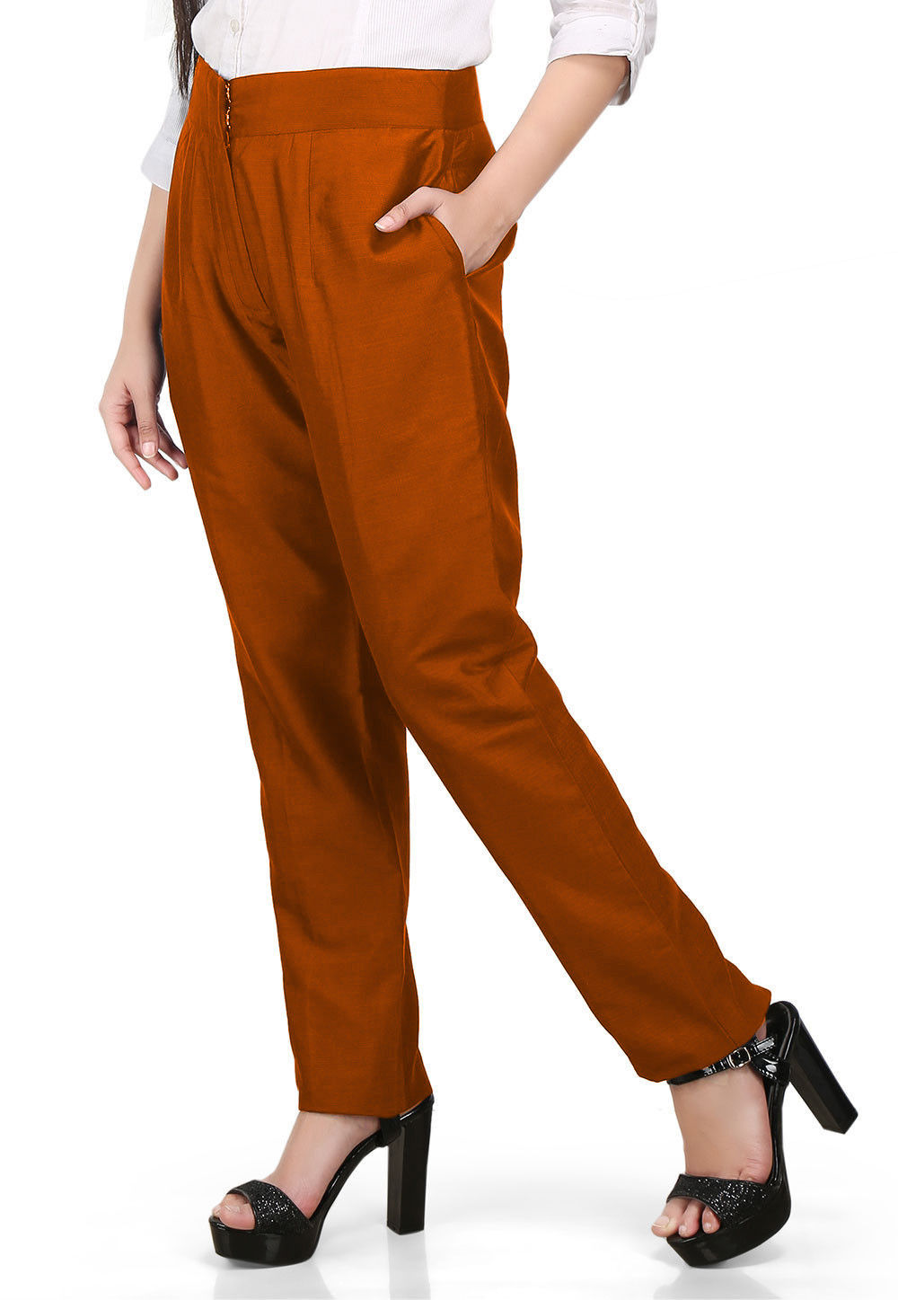 Solid Color Cotton Silk Pant in Rust
