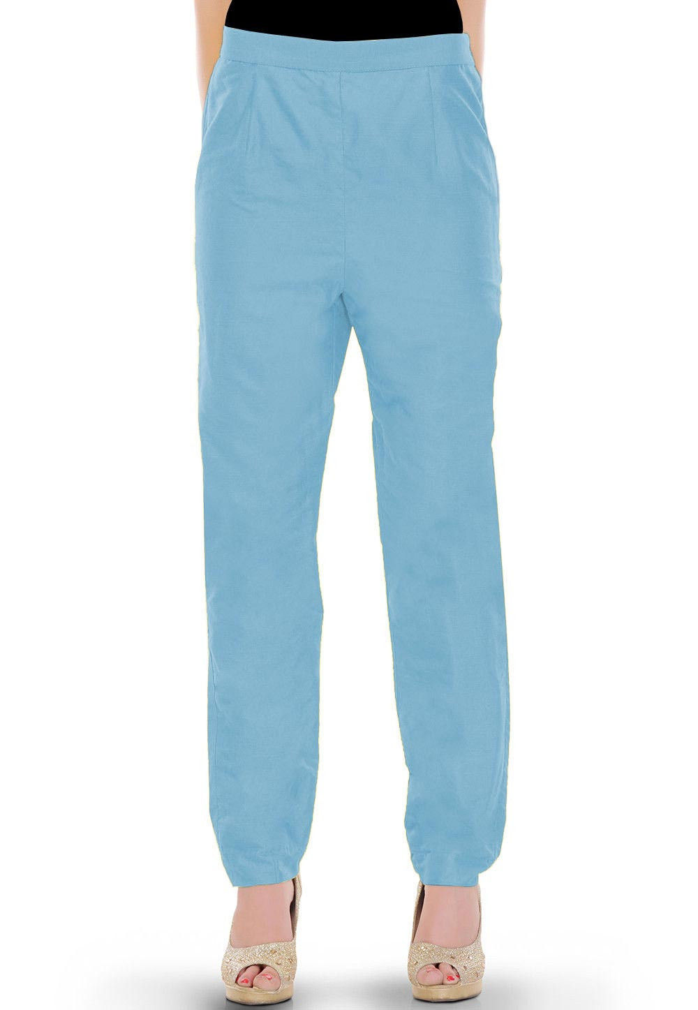 Solid Color Cotton Silk Pant in Sky Blue