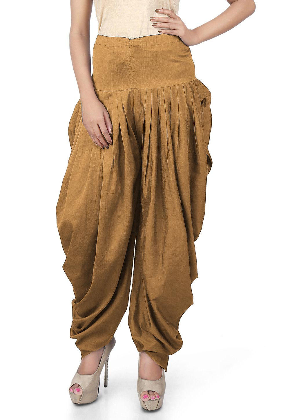 Solid Color Cotton Silk Salwars in Beige