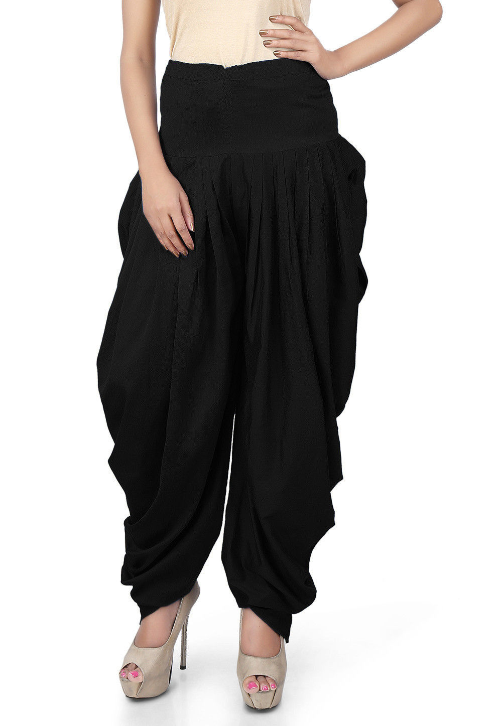 Solid Color Cotton Silk Salwars in Black